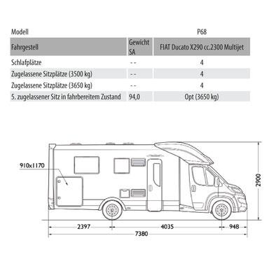 Mobilvetta Kea P 68 Masszeichnung