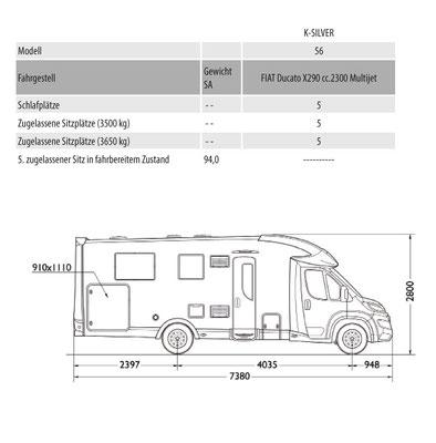 Mobilvetta K-Silver 56 Masszeichnung