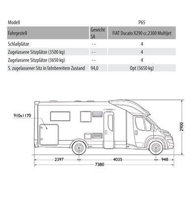 Mobilvetta Kea P 65 Masszeichnung