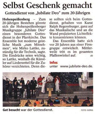 Weilheimer Tagblatt zum Jubiläumsgottesdienst 2010