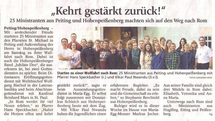 Weilheimer Tagblatt zur Miniwallfahrt nach Rom - Ministranten Hohenpeißenberg und Peiting