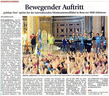 Weilheimer Tagblatt zum Auftritt in Rom 2014