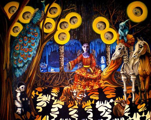 SAG GELIEBTER, WO WEILT DEIN SINN? Acrylic, Goldbronze on canvas, 120 x 150 cm; 2012