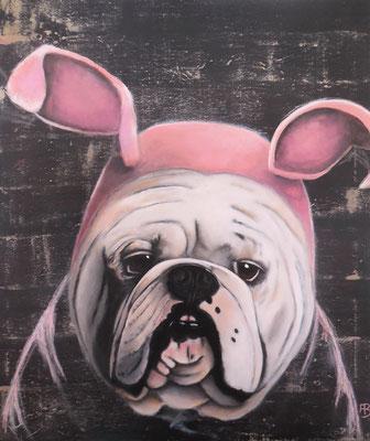 ERDHASE Nr. 2 (English Bulldog) Acrylic, Pastell chalk on canvas 70 x 60 cm; 2015
