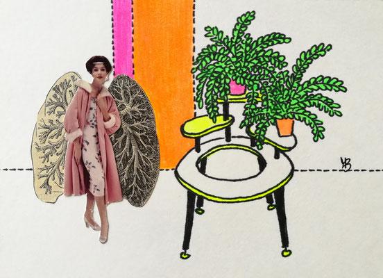 NICHTS VERPASST HEUTE Tusche, Marker, Collage auf Bütten Papier, 13 x 18 cm; 2020