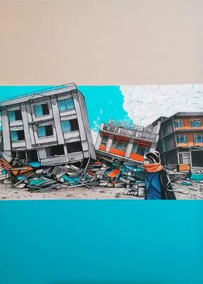 Giganten gleich, gefallen  Acryl auf Leinwand, 140 x 100 cm; 2021