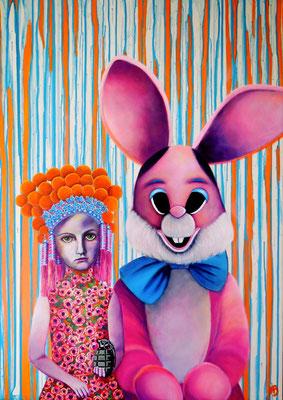 DAS HERZ UNVERKLEIDET, FLUCHTVERSUCH ZWECKLOS Acrylic on Truck canvas 118 x 84 cm; 2015