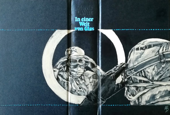 In einer Welt aus Glas Acryl auf Leinen I Bucheinband, Holz, 22 x 33 cm; 2020