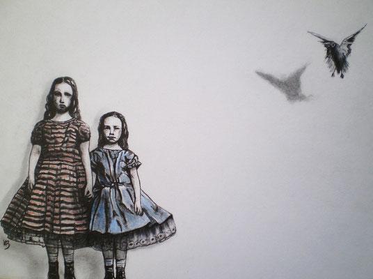ALLE SEELEN KÖNNEN FLIEGEN Graphite, Aquarell Crayons de Couleur on Bütten paper, 21 x 29,5 cm; 2012