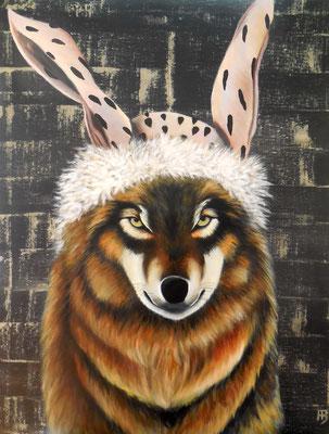ERDHASE Nr. 1 (Wolf) Acrylic on canvas, 92 x 73 cm; 2015
