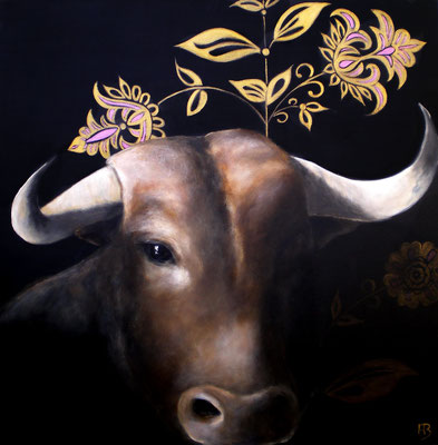HEILIGER STIER Acrylic, goldbronze on canvas, 60 x 60 cm; 2010 (sold)