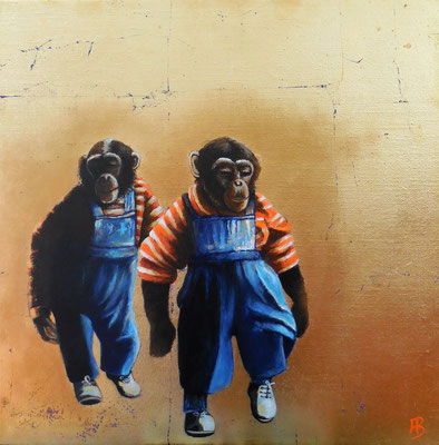DAS GROßE FINDEN Acrylic, leafgold on canvas, 40 x 40 cm; 2016