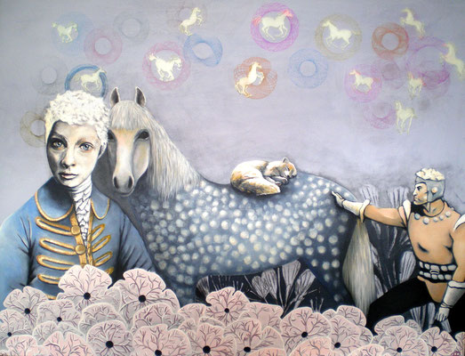 DEM HERZSCHLAG LAUSCHEN Acrylic, Mixed Media on canvas, 80 x 100 cm; 2013