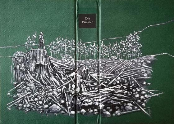 DIE PARASITEN Acryl auf Leinen I Bucheinband, Holz, 21 x 32 cm; 2020
