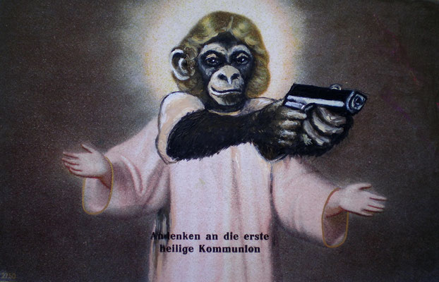 KEINE KOMPROMISSE MEHR Acrylic on paper I Devotionalie, 11 x 16 cm; 2010 (private)
