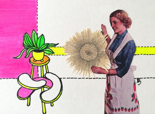 EINFACH SO ERLEUCHTET Tusche, Marker, Collage auf Bütten Papier, 13 x 18 cm; 2020