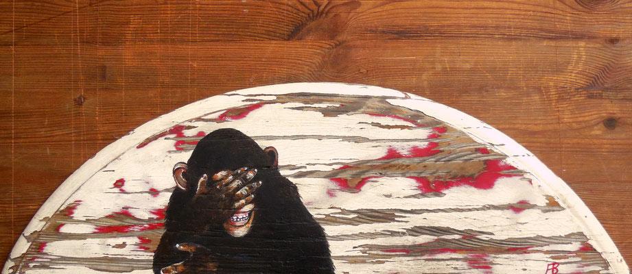 BESSER ?! Acrylic on wood Ø 16,5 x 54 cm; 2016