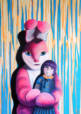 EGAL WAS IST, HASE LIEBT DICH IMMER Acrylic on Truck canvas 118 x 84 cm; 2014