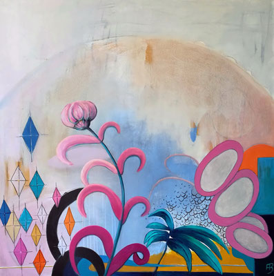 DREAMING GROUND I Acrylic, coal, pastel chalk on canvas, 100 x 100 cm; 2018