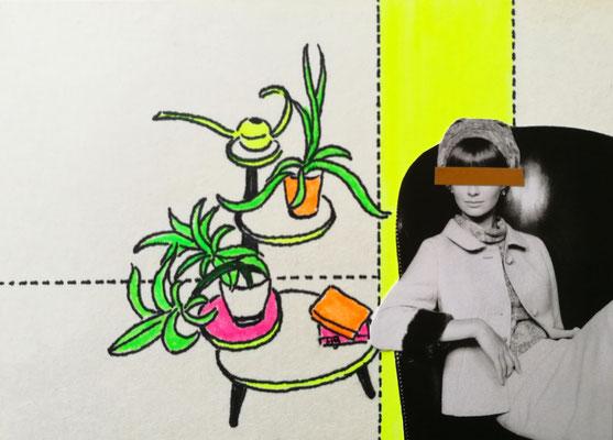 HEUTE KEINE MÄRCHEN Tusche, Marker, Collage auf Bütten Papier, 13 x 18 cm; 2020