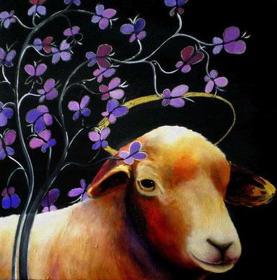 HEILIGES SCHAF Acrylic, goldbronze on canvas, 60 x 60 cm; 2006 (sold)