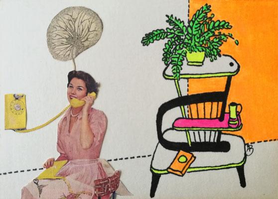 KEINE GNADE MEHR Tusche, Marker, Collage auf Bütten Papier, 13 x 18 cm; 2020