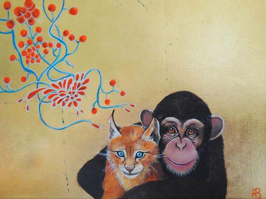 LIEBE IST MEHR ALS EIN WORT Acrylic, leafgold on canvas, 30 x 40 cm; 2016 (sold)