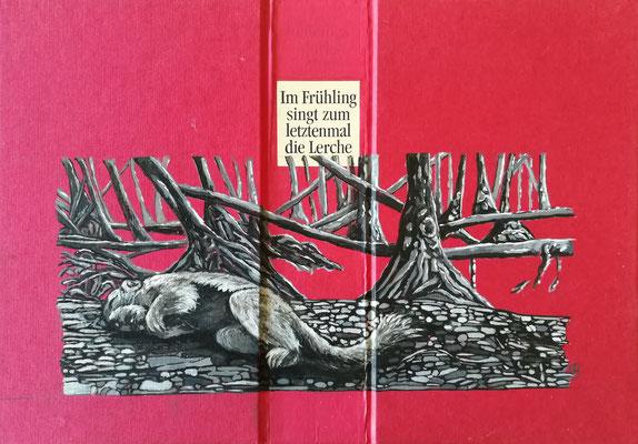 Im Frühling singt zum letztenmal die Lerche  Acryl auf Leinen I Bucheinband, Holz, 21 x 33 cm; 2020
