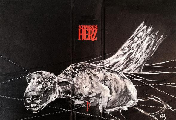 SCHWARZES HERZ Acryl auf Leinen I Bucheinband, Holz, 22 x 33 cm; 2020