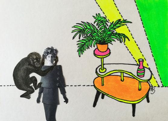 KÖNNTE SCHLIMMER SEIN Tusche, Marker, Collage auf Bütten Papier, 13 x 18 cm; 2020