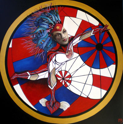 COSMIC DANCER Acrylic, goldbronze on canvas, 100 x 100 cm; 2010
