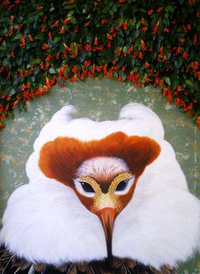 TÄTER OPFER RETTER I Acrylic, goldbronze, silkflowers on canvas, 140 x 100 cm; 2011