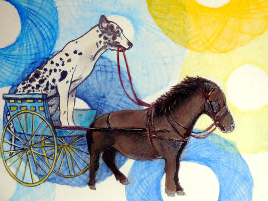 Smallest horse of the world - Aquarell, Acrylic, Graphite on Bütten, 12 x 17 cm; 2013 (sold)