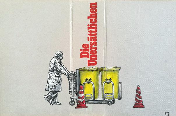 DIE UNERSÄTTLICHEN Acryl auf Leinen I Bucheinband, Holz, 21 x 33 cm; 2020