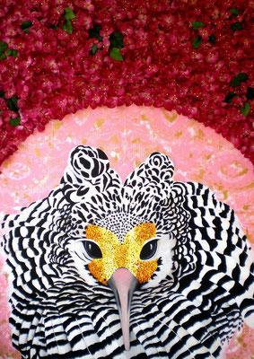 TÄTER OPFER RETTER III Acrylic, goldbronze, silkflowers on canvas, 140 x 100 cm; 2011