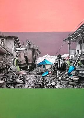 Stille sank durch die Zeit Acryl auf Leinwand, 140 x 100 cm; 2021