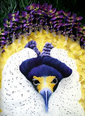 TÄTER OPFER RETTER II Acrylic, goldbronze, silkflowers on canvas, 140 x 100 cm; 2011