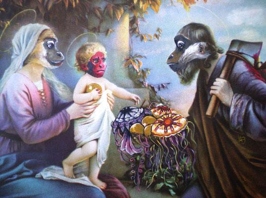DIE VERHEISSUNG Acrylic on paper I Devotionalie, 21 x 26 cm; 2010 (sold)