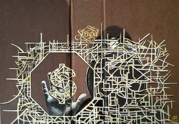 SKRUPEL Acryl auf Leinen I Bucheinband, Holz, 22 x 33 cm; 2020