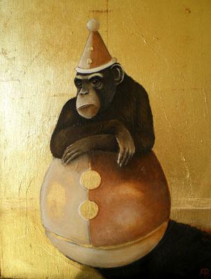GENUG IST GENUG Acrylic, Leafgold on canvas, 40 x 30 cm, 2010 (sold)