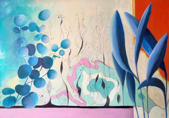 DREAMING GROUND II Acrylic, coal, pastel chalk on canvas, 70 x 100 cm; 2018