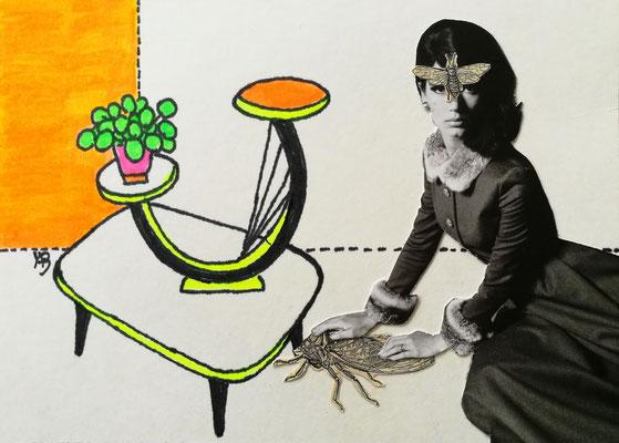 ALLES NUR GEWOHNHEIT Tusche, Marker, Collage auf Bütten Papier, 13 x 18 cm; 2020