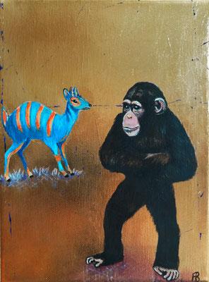 WIE EIN LICHT IM DUNKEL Acrylic, leafgold on canvas, 24 x 18 cm; 2016