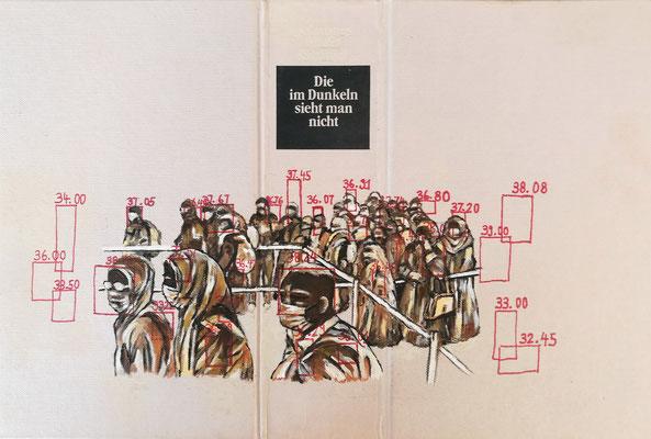 Die im Dunkeln sieht man nicht Acryl auf Leinen I Bucheinband, Holz, 22 x 33 cm; 2020