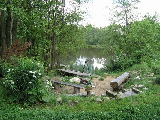 Unser Teich: Perfekt für leckeren Grill-Genuß und für ein Lagerfeuer