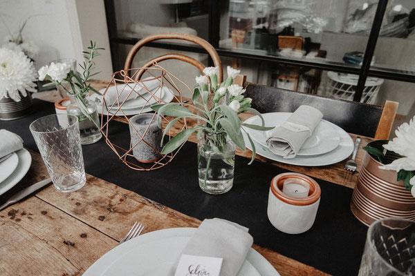 Teelichthalter, 2-teilig, Betonoptik & Kupfer, je 2 €