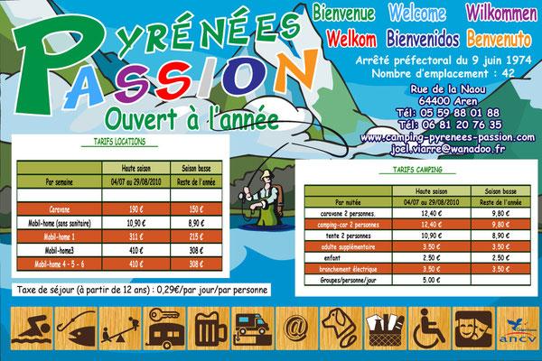 Panneau tarif Pyrénées Passion