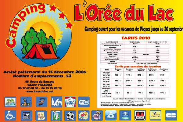 Panneau tarif L'Orée du lac