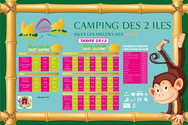 Panneau tarif camping Les 2 Iles