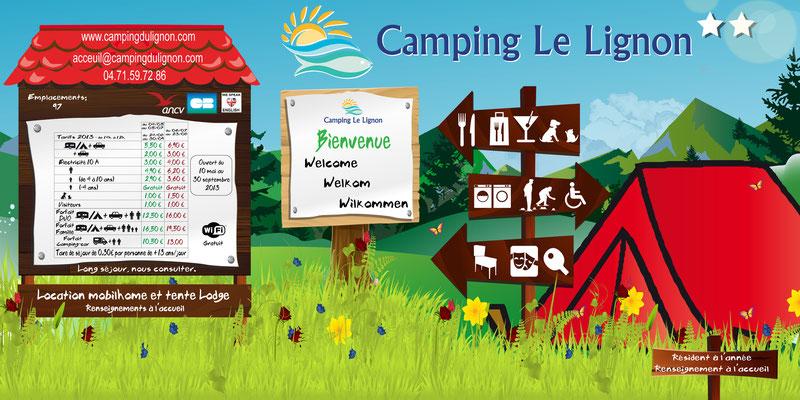 Panneau tarif camping le Lignon